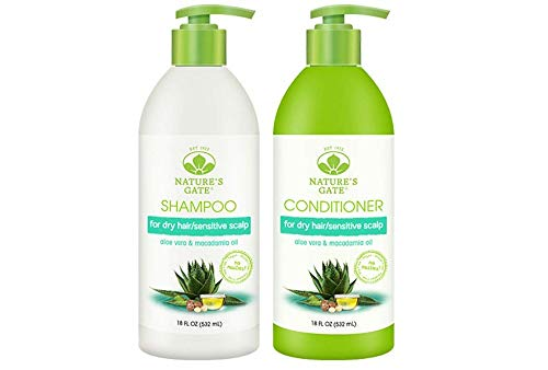 Nature's Gate Nature's gate aloe vera moisturizing for normal to dry hair, duo set shampoo & conditioner, 18 oz each bottle