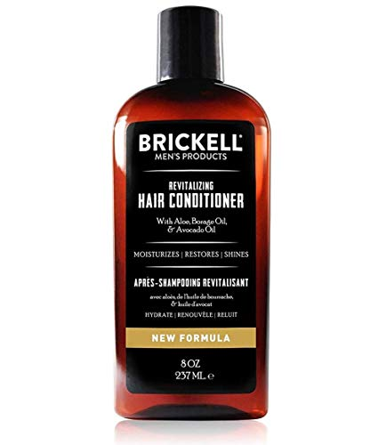 Brickell Men's Revitalizing Hair Conditioner for Men, Natural and Organic Nourishing Hair Conditioner, Restores Shine and Moisture, 8 Ounce, Scented, New Formula