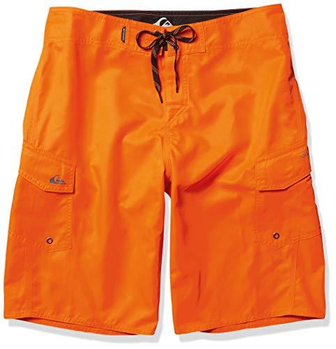 Quiksilver Men's Manic 22 Inch Length Cargo Pocket Boardshort Swim Trunk, Shocking Orange, 33