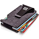 Slim Carbon Fiber Wallet for Men - RFID Blocking Wallet - 12 Credit Cards Holder - Money Clip for 9 Banknotes - Hard Thin Anti-Scratch and Protective Front Pocket Wallet - 3.4x2.2x0.35 Inches - Black