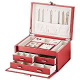 Kendal Huge Leather Jewelry Box Case Storage Organizer for Necklace Ring Earring Bracelet with Lock,red