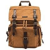 Kattee Men's Leather Canvas Backpack Large School Bag Travel Rucksack Black