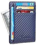 Travelambo Front Pocket Minimalist Leather Slim Wallet RFID Blocking Medium Size(CF Navy Blue)