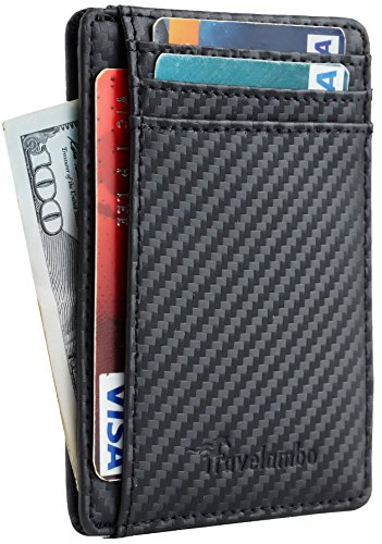 Travelambo Front Pocket Minimalist Leather Slim Wallet RFID Blocking Medium Size Weaved (Weaved Black)