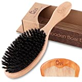 BLACK EGG Boar Bristle Hair Brush for Women Men Kid, Soft Natural Bristles Brush for Thin and Fine Hair, Restore Shine and Texture, Set includes Bamboo comb and 3 hair ties(Random Color)