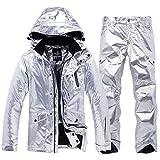 DGSD Mens Women's Ski Snowboard Jacket and Pants Set Waterproof Mountain Snowboard Jacket Snow Suits Rain Coat Windbraker,Silver,XXXL