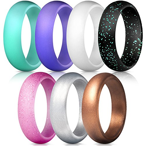 ThunderFit Silicone Rings, 7 Pack Wedding Bands for Women - 5.5 mm Wide (Teal Purple White Silver Bronze Black Pink Glitter, 5.5-6 (16.5mm))