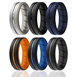 ROQ Silicone Rings, Breathable Silicone Rubber Wedding Ring Band for Men with Comfort-Fit Design, 8mm Engraved Duo, 6 Pack, Silicone Wedding Ring - Black, Blue, Orange, Grey Colors - Size 11