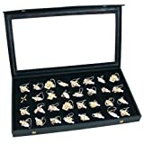 FindingKing Jewelry Box Holder Tray 32 Earring Display Case Organizer Storage Black Clear