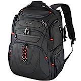 KROSER TSA Friendly Travel Laptop Backpack 17.3 Inch XL Heavy Duty TSA Friendly Computer Backpack Water-Repellent College Daypack Business Backpack with RFID Pockets & USB Port for Men/Women-Black