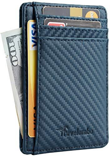 Travelambo Front Pocket Minimalist Leather Slim Wallet RFID Blocking Medium Size(01 CF Black)