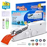 Mini Handheld Sewing Machine, LIUMY 15Pcs Portable Sewing Machine, Mini Cordless Handheld Electric Stitch Tool for Fabric, Clothing, Kids Cloth, Home Travel Use