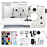 Magicfly Portable Sewing Machine with Back Sewing, 12 Built-in Stitches Mini Sewing Machine for Beginner, 3 Replaceable Feet, Extension Table, Accessory Kit, White