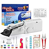 Stywvoe Portable Sewing Machine, Mini Sewing Professional Cordless Sewing Handheld Electric Household Tool - Quick Stitch Tool for Fabric, Clothing, or Kids Cloth Home Travel Use (White)
