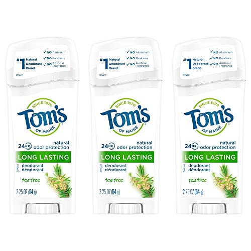 Tom's of Maine Natural Long Lasting Deodorant Multi Pack, Aluminum Free Deodorant, Natural Deodorant, Tea Tree, 2.25 Ounce, Pack of 3