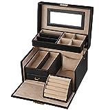 SONGMICS Jewelry Box, Girls Jewelry Organizer, Lockable Mirrored Storage Case, Gift Idea, Black UJBC114