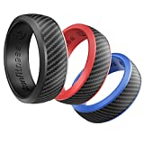 Ikonfitness Silicone Wedding Ring for Men and Women - 3 Pack Comfortable Fit, Rubber Wedding Ring Grey, Blue, Red - Come with a Metal Box