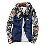 Amcupider Men's Contrast Zip Front-Zip Jacket Small Floral & Dark Blue
