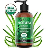 Aloe Vera Gel - USDA Organic Aloe Vera Gel Cold Pressed - Certified Organic Aloe for Healthy Skin, Hair & After Sun Relief - Made from Aloe Vera Juice Straight from the Plant [8oz Size]