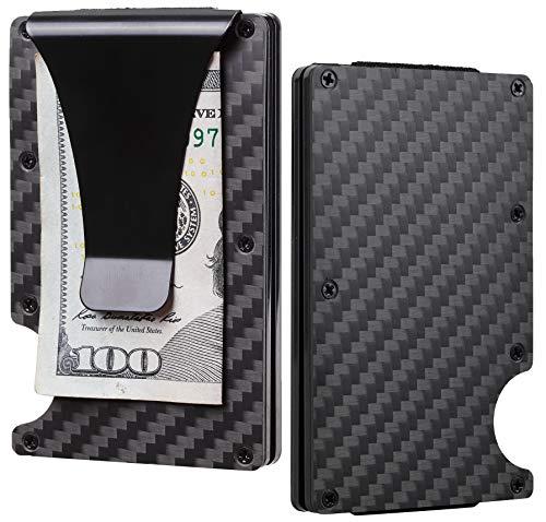BSWolf Carbon Fiber Slim Minimalist Front Pocket Wallet Credit Card Case Holder RFID Blocking (01 carbon fiber black)