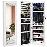 SONGMICS 6 LEDs Mirror Jewelry Cabinet, 47.3'H Lockable Wall/Door Mounted Jewelry Armoire Organizer with Mirror, 2 Drawers, Pure White UJJC93W