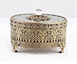 Vintage Round Jewelry Decorative Trinket Box Ring Box Antique Metal Case 3.8 inch (Brass (Matt Gold), Small)