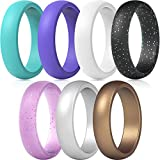 ThunderFit Silicone Wedding Ring for Women - 5.5 mm Wide - 2mm Thick (Teal, Purple, White, Silver, Bronze, Black Glitter, Pink Glitter | Size: 5.5-6 (16.5mm))