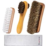 TAKAVU Shoe Shine Kit (4PCS) - 100% Soft Horsehair Bristles Brush, Polish Applicator, Crepe Suede Shoes Brush, Microfiber Buffing Cloth for Shoes, Leather, Boot, Cloth, Bag