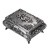Hipiwe Vintage Metal Jewelry Box Small Trinket Jewelry Storage Box for Rings Earrings Necklace Treasure Chest Organizer Antique Jewelry Keepsake Gift Box Case for Girl Women (Medium)