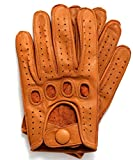 Riparo Genuine Leather Reverse Stitched Driving Gloves (Large, Cognac)