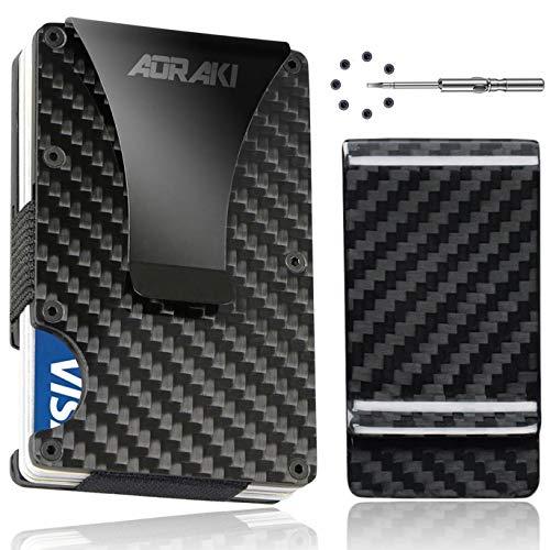 Carbon Fiber Wallet - RFID Blocking Minimalist Wallets for Men - Aluminum Money Clip Wallet | Rigid Metal Wallet | Compact EDC Credit Card Holder for Travel with Additional Carbon Fiber Money Clip