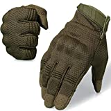 AXBXCX Breathable Flexible Touch Screen Full Finger Motorcycles Gloves for Men Running Airsoft Paintball Driving ATV Motocross Climbing Camping Green XL