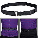 Men Shirt Stays Shirt Lock Belt Adjustable Elastic Shirt Holder Keeps Shirt Tucked in for Police Military (Black)