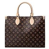 Womens Tote Handbag With Shoulder Strap Brand Foral Pattern PU Leather Top Handle Satchel Crossbody Shoulder Bags (Large Brown)