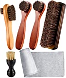 Youngjoy 6 Pieces Horsehair Shine Shoes Brush kit Polish Dauber Applicators, Brown, 10.2 x 8.3 x 2.2 inches
