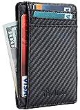 Travelambo Front Pocket Minimalist Leather Slim Wallet, Black, Size One Size