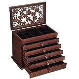 SONGMICS Large Jewelry Organizer Wooden Storage Box 6 Layers Case with 5 Drawers, Dark Brown UJOW56W