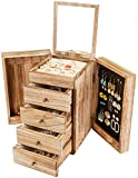 Meangood Jewelry Box Wood for Wowen, 5-Layer Large Organizer Box with Mirror & 4 Drawers for Rings, Earrings, Necklaces, Vintage Style Torched Wood