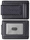Toughergun Genuine Leather Magnetic Front Pocket Money Clip Wallet RFID Blocking(Weaved Leather Black)