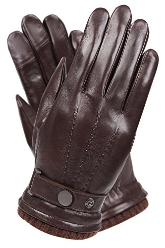 Men's Texting Touchscreen Winter Warm Sheepskin Leather Daily Dress Driving Gloves Wool/Cashmere Blend Cuff (9, Brown(Cashmere&Woo Blend Lining))