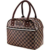 Mu Yangren Lunch Bags Insulated Lunch Box for Women Leakproof Cooler Tote Bag Checked Pattern Multi-functional Reusable Thermal Snacks Organizer Bag for Men Women Outdoor Picnic Hiking Work(Brown)