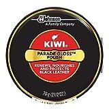 KIWI Black Parade Gloss Shoe Polish and Shine   Leather Shoe Care for Dress Shoes and Boots   Carnuba Wax   2.5 Oz