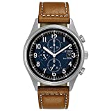 Citizen Eco-Drive Garrison Quartz Mens Watch, Stainless Steel with Leather strap, Field watch, Brown (Model: CA0621-05L)