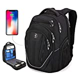 TSA Friendly, Swissdigital Water-Resistant Large Backpack, Business Laptop Backpack for Men with USB Charging Port/RFID Protection Big School Bookbag Fits 15.6 in Travel Laptop Backpack (A)