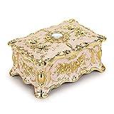 Hipiwe Vintage Metal Jewelry Box - Two Layer Rectangular Trinket Organizer Storage Box Ornate Treasure Chest Box Jewelry Decorative box Keepsake Gift Box Case for Women Girls, 7'x5'x3'