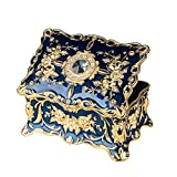 Feyarl Vintage Two Layers Rectangle Trinket Jewelry Box Ornate Ring Earrings Treasure Case Keepsake Box Organizer for Birthday Woman Girl Gift (Blue) 7.1 x 4.7 x 3.1 inches