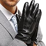 Leather Gloves for Mens Full-Hand Touchscreen Gift Packaging Cold Weather Glove (M-8.5'(US Standard Size), BLACK)