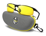 BLUPOND Night Driving Glasses - Semi Polarized Yellow Tint HD Vision Anti Glare Lens - Unbreakable Metal Frame with Car Clip Holder