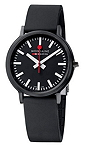 Mondaine Official Swiss Railways Watch stop2go Women's/ Men's Watch, Quartz Completely Black with Sapphire Crystal