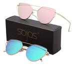 SOJOS SJ1001 Cat Eye Mirrored Flat Lenses Street Fashion Metal Frame Women Sunglasses